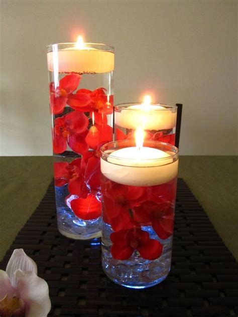 candle and flower centerpiece orchid floating candle wedding centerpiece led light
