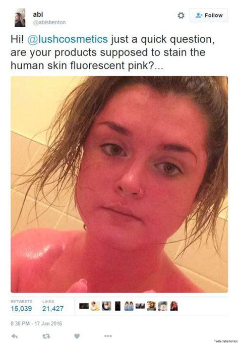 pink skin turns pink after misusing lush cosmetics bath