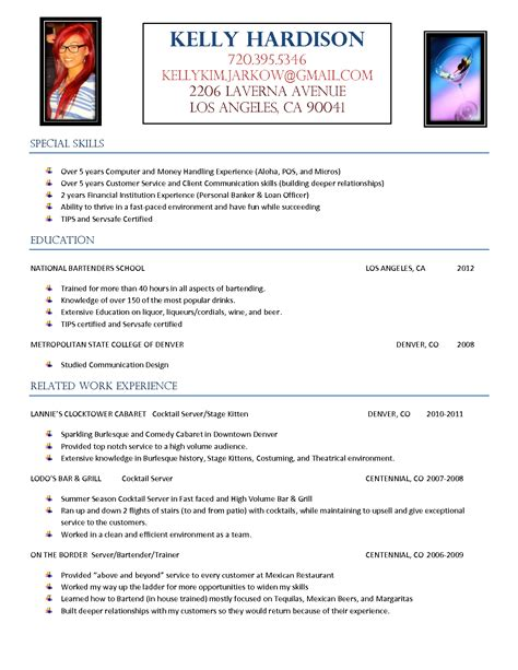 cover letter for bartender with no experience 10 create a great bartender resume writing resume sle