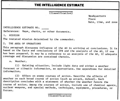 Intelligence Briefing Briefformat Fm 34 80 Appendix A Request And Report Formats