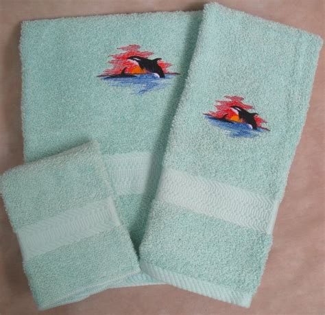 killer whale bath embroidered killer whale wash bath towel set