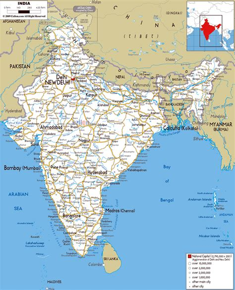 printable road map of india maps of india detailed map of india in english tourist