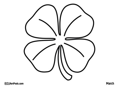 Four Leaf Clovers Coloring Pages Az Coloring Pages Four Leaf Clover Color Page