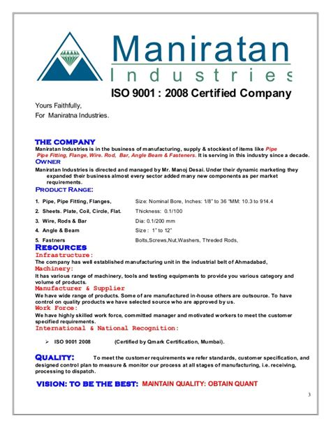 Introduction Letter Of Manufacturing Company Introduction Letter