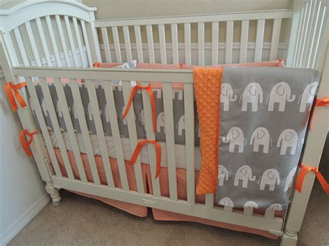 orange baby bedding gray and orange elephant houndstooth custom baby bedding