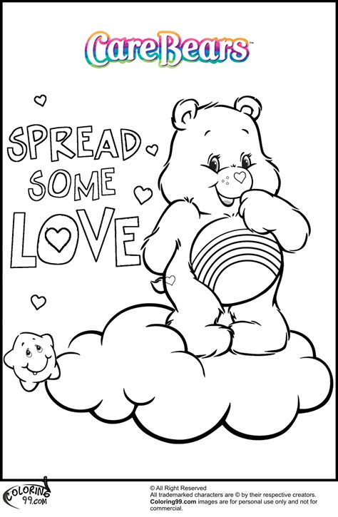 showing affection coloring sheet care bears love coloring pages images
