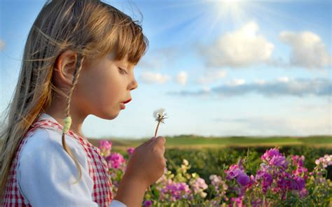 wallpaper girl little little girl among spring flowers wallpapers 1920x1200