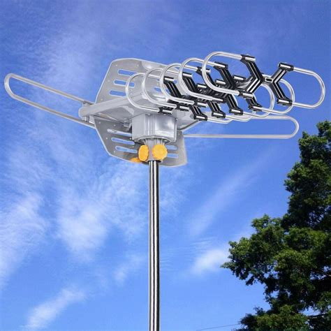 hdtv 1080p outdoor lified antenna digital hd tv 100 mile 360 rotor uhf vhf ebay