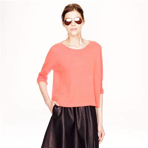 cropped sweater j crew collection cropped sweater in pink neon