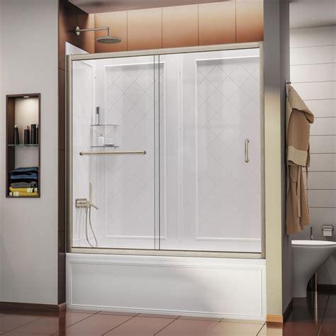Dreamline Infinity Shower Door Dreamline Infinity Z 60 In X 60 In Framed Sliding Tub Shower Door In Brushed Nickel And