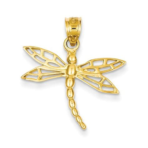 dragonfly rubber st 14kt yellow gold 3 4in dragonfly pendant c1850 jewelers