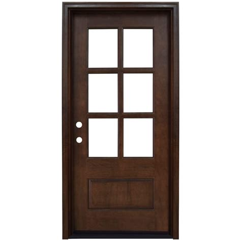 Door Lites Exterior Doors Steves Sons 36 In X 80 In 6 Lite Stained Mahogany Wood Prehung Front Door M6410 06