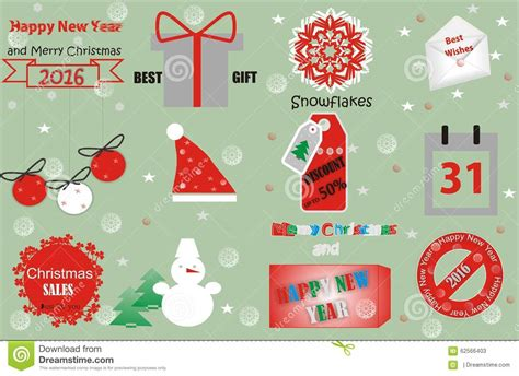 new year decorative elements vector merry and happy new year design stock