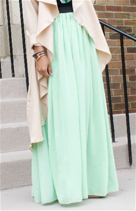 mint green maxi skirt delicate hijabi