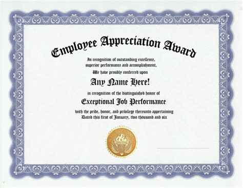 Employee Recognition Certificate Templates employee appreciation award certificate recognition ebay