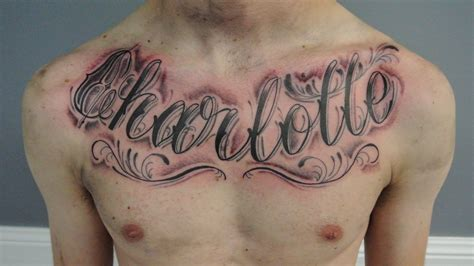 tattoo charlotte chest pieces script lettering on chest