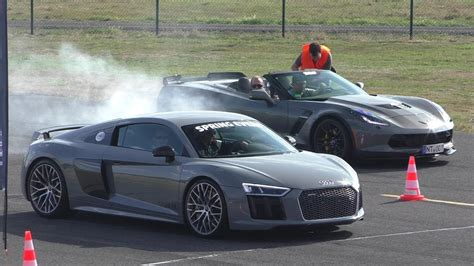 nardo grey r8 dragrace nardo grey audi r8 v10 plus vs audi rs6 vs