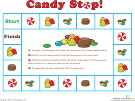 Printable Board Games For Kindergarten | candy stop game worksheet education com
