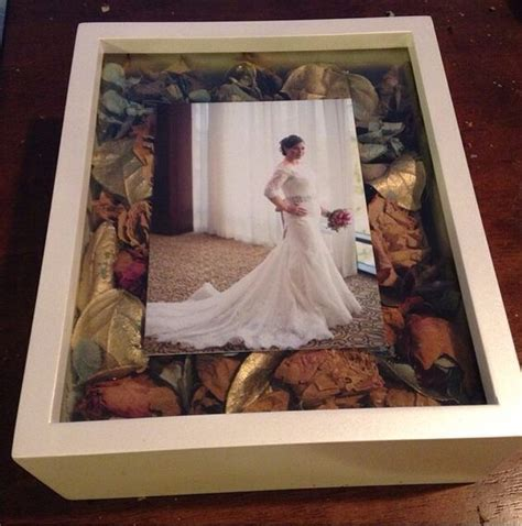 Wedding Bouquet Box Frame by Wedding Photo Frame Shadow Box With Dried Petals From