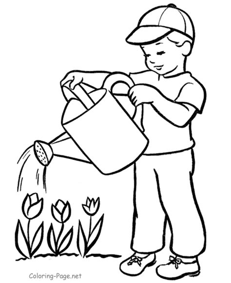 child color a child watering plants colouring pages coloring home