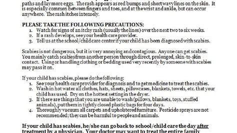 Parent Notification Letter Scabies Vidor Parents Concerned About Scabies Outbreak School