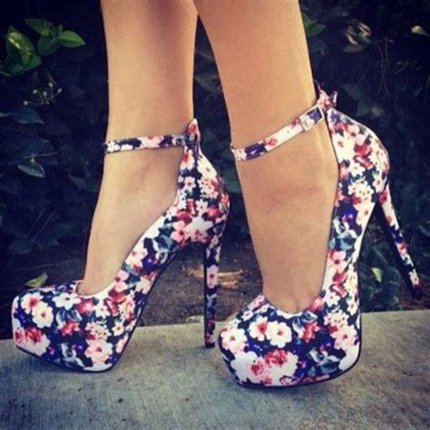 flower pattern heels shoes floral heels high heels pumps floral flower