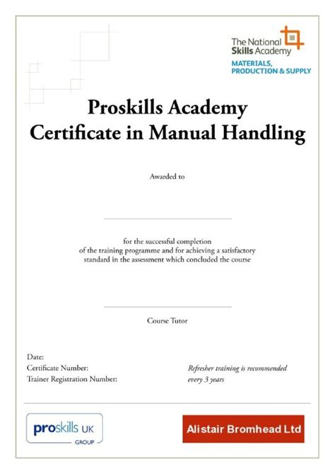 moving and handling certificate templates manual handling certification