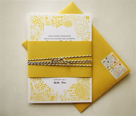 Wedding Invitations Yellow Paper adam s yellow floral wedding invitations