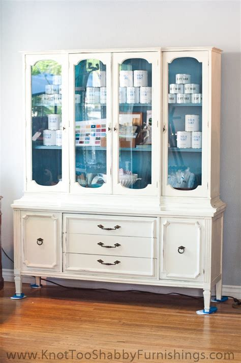 Large Wood China Cabinet Painted Off White With Blue Grey Painted China Cabinet Ideas