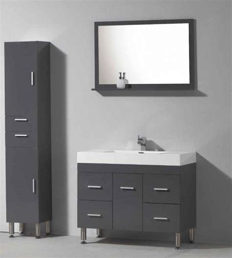 meuble de salle de bain sur pieds  cm blanc ou gris brillant hora