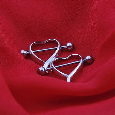 heart shaped nipples surgery or tattoo new surgical steel curvy shaped bar shield
