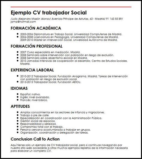 Ejemplo De Curriculum Vitae Trabajo Social Ejemplo Cv Trabajador Social Micvideal