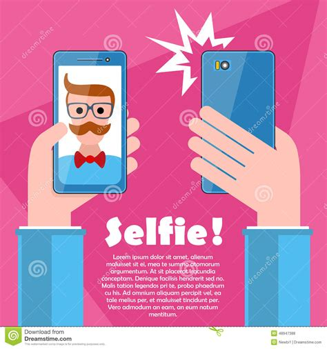 design your dream phone selfie poster with hipster holding smartphone vector