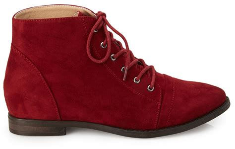 Boot Forever 21 Original burgundy suede boots forever 21 faux suede lace up