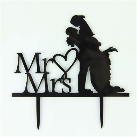 Wedding Font Silhouette by Mr Mrs Wedding Cake Topper Groom Silhouette