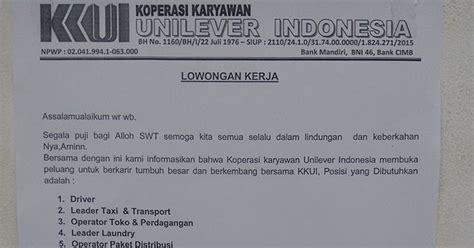 email unilever indonesia lowongan kerja koperasi karyawan unilever indonesia
