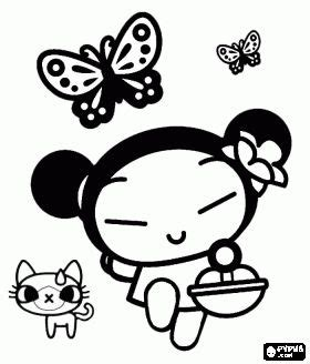Aufnäher 10 X 5 by Pucca Walking With Her Cat Yani And Butterflies Coloring