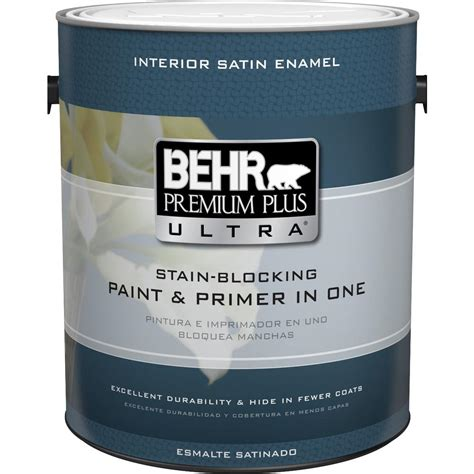 home depot paint label behr premium plus ultra 1 gal medium base satin enamel