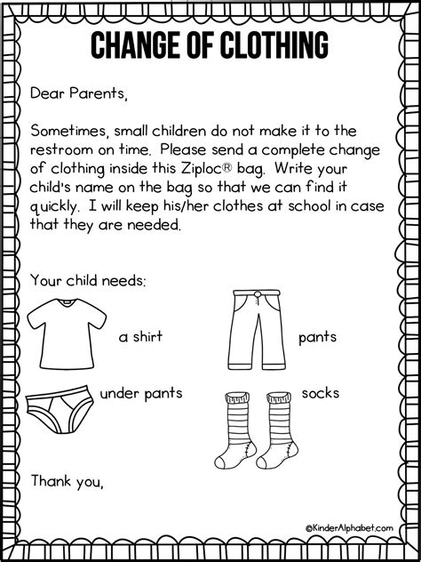 Kindergarten Parent Letter Template parent letter for change of clothing free from