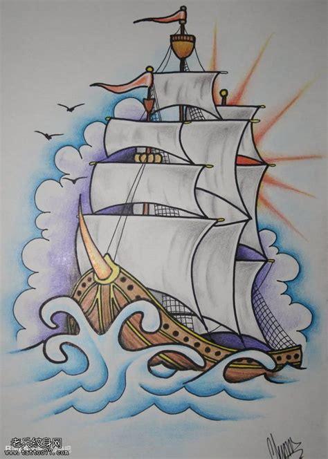 帆船小臂纹身手稿内容图片分享
