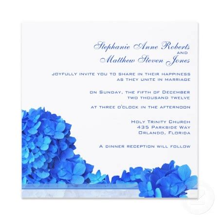 blue wedding invitations blue hydrangea wedding invitations