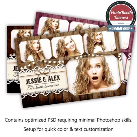 Rustic Lace Postcard Photo Booth Template Photo Booth Collage Template