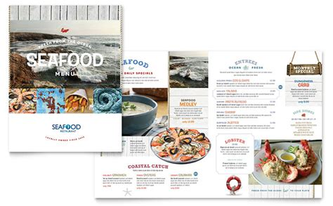 menu layouts templates seafood restaurant menu template design