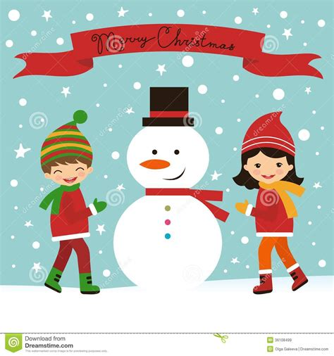 cards with children card with and snowman royalty free stock