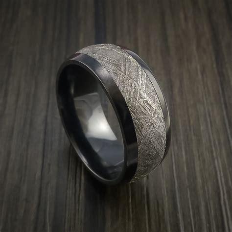 black zirconium gibeon meteorite black zirconium wedding band made any
