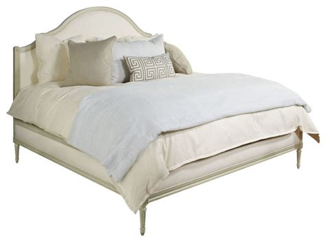 transitional bed simone upholstered bed in antique ivory cream