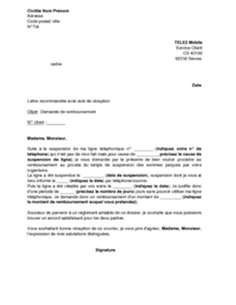 Lettre De Resiliation Mobile Tele2 Lettre De Demande De Remboursement Au Prorata Suite 224 Une Suspension De Ligne Tele2 Mobile