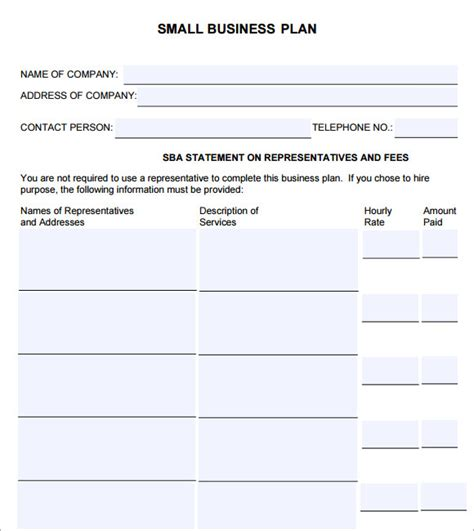 small business plan template 9 free documents