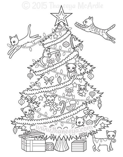 coloring page christmas cat christmas coloring book by thaneeya mcardle thaneeya com