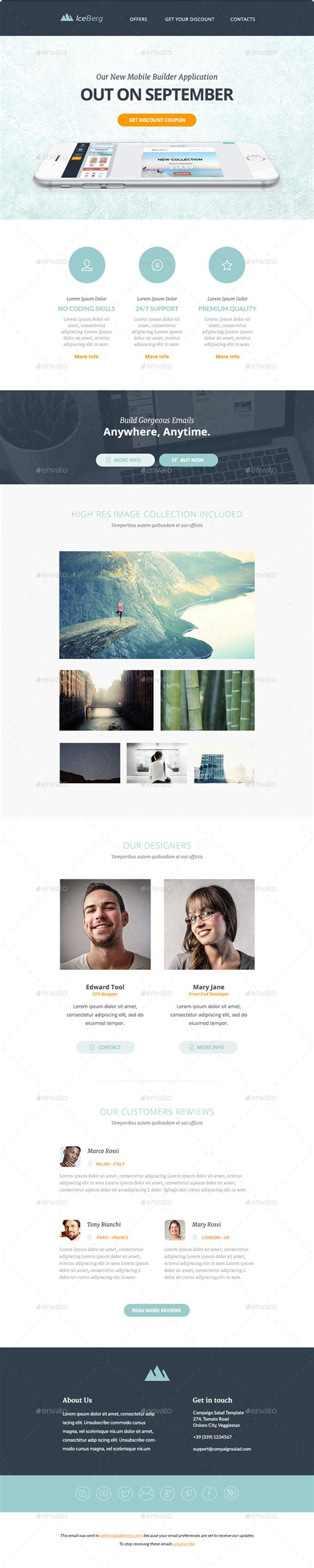 iceberg multipurpose email templates by mailsalad
